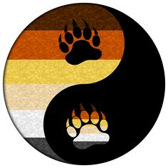 Bear pride Yin and Yang with paw symbols. Black, gray, white, tan, yellow, orange, and brown yin yang symbol. #gay #lgbt #pride #gaybear #yinyang #liveloudgraphics