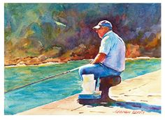 """Sunday morning fishing by Graham Berry Watercolor ~ 10"""" x 14"""""""