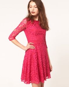 05b5c03a3 Asos Lace Mini Dress With Skater Skirt in Pink