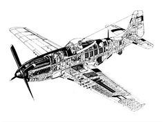 Cutaway of P-51, among the most famous aircraft of World War 2.
