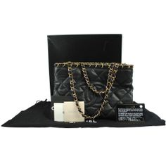 Auth CHANEL CC Logos Quilted Chain Hand Bag Leather Black Italy Vintage 1-4616b