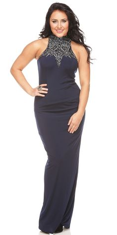 Terani E3755 Sinuous Halter-Style Evening Gown