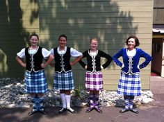 Second from right - kilt with black jacket #ross #purple #tartan