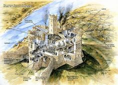 Warkworth Castle layout, by Peter Dunn ~ This castle is famous for its long-term connection with the Percy family. As far as Earls of Percy often clashed with British monarchs, kings and queens usually confiscated the castle but earls of Percy managed to return their property back. In 1537 the 6th earl of Percy died and left the castle to Henry VIII.