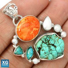 Tibetan-Turquoise-Italian-Coral-925-Silver-Pendant-Jewelry-SP98686
