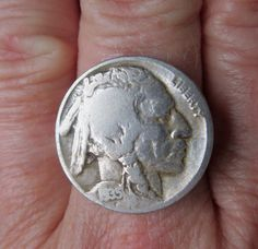 BUFFALO NICKEL RING with Vintage 1935 Indian by GabbyGailsGoodies, $12.00