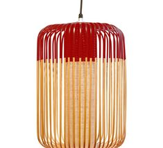 Suspension, Bamboo light outdoor L, rouge, - Forestier - Luminaires Nedgis Ceiling Rose, Ceiling Lights, Bamboo Light, Lumiere Led, Luminaire Design, Bedroom Lighting, Solar Lights, Outdoor Lighting, Lighting Ideas