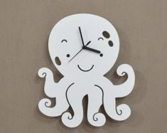 Octopus Kids Cartoon Silhouette Wall Clock by SolPixieDust Decor Crafts, Wood Crafts, Diy And Crafts, Cartoon Silhouette, Cnc Cutting Design, Clock Craft, Wall Watch, Wood Clocks, Wooden Watch