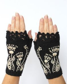 Knitted Fingerless Gloves, Ornament, Black, Ivory, Gloves & Mittens, Gift Ideas, For Her, Winter Accessories, Fashion, Accessories, Autumn