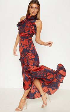 93de1a301a Navy Floral Print Frill Detail Wrap Maxi Dress We are obsessing over all  things floral right