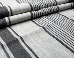 Huckaback Natural Black Striped Linen Fabric Loose by NordicStyle Weaving Projects, African Dresses For Women, Weaving Patterns, Striped Linen, Couture, Linen Fabric, Black Stripes, Loom, Hand Weaving