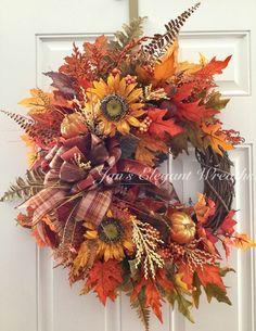 Fall Wreath, Sunflower Wreath, Fall Door Wreath