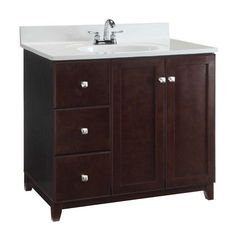 Furniture Style Vanity Cabinet, 36 Inches By 21 Inches, Espresso Design House Vanities Bat