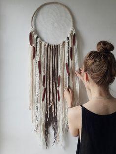 Extra Large Woods Dream Catcher, Cream Brown DreamCatcher, Wall Hanging, Boho Decor, Willow, Wool Art, Boho Wedding Decor