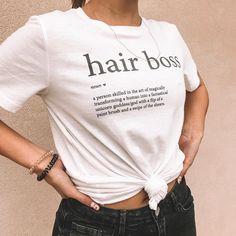 thanks for being such a bad ass / I love your… Shirt Refashion, Diy Shirt, Vintage Hairdresser, Boss Shirts, Tee Shirts, Hair Stylist Shirts, Salon Wear, Winter T Shirts, Bleach Shirts