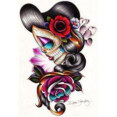 Sad Girl by Dave Sanchez Mexican Sugar Skull Canvas Art Giclee Print | Moodswingsonthenet - Art on ArtFire