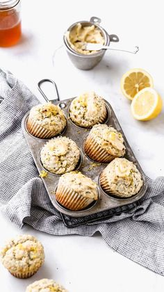 This recipe was tested four times to get moist lemon poppy seed muffins! They have the perfect amount of lemon tartness and even have a simple honey butter spread on top. This is definitely one of the best lemon poppy seed muffin recipes! Lemon Recipes, Sweet Recipes, Baking Recipes, Muffin Recipes, Lemon Desserts, Poppy Seed Muffin Recipe, Brunch Recipes, Dessert Recipes, Cake Recipes