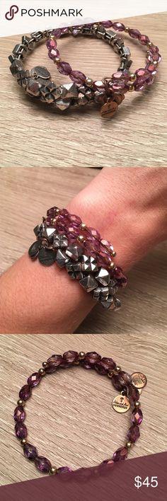 Alex and Ani Energy bracelets Purple and silver 100% authentic Alex and Ani bracelets. Bundle package!! Excellent condition. Alex & Ani Jewelry Bracelets