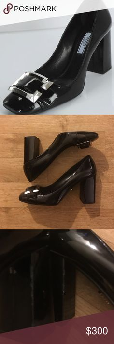 Prada Patent buckle heel 3.5 in block heel Prada heels!! Size 37.5 has some wear on edge of heel(pictures 3& 4) . Otherwise in great shape!  Leather soles and signature Prada style! Grab these as a staple piece in your wardrobe! No low balls!! Prada Shoes Heels