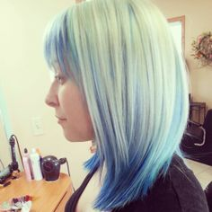 Singing the blues! Hair by Jessica at Shear Legends hair salon, Saginaw Michigan. #pravana #vivids #haircolor #bluehair #blonde
