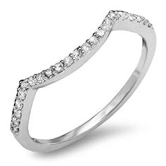 015 Carat ctw 14K White Gold Round Diamond Ladies Wedding Stackable Contour Guard Ring Size 5 ** You can find out more details at the link of the image.