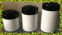 Disney Park Mickey Mouse White Black Ceramic Embossed Canister Set of 3 NEW This is a brand new authentic embossed Disney Theme Park ceramic set.and is made in a smoke free environment. http://theceramicchefknives.com/ceramic-canister-sets-beautiful-long-lasting-gifts/