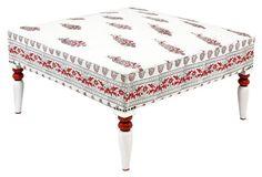 40x40 16h Calma Ottoman, White/Red
