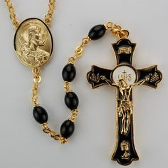 4X6MM GOLD PLATED PEWTER BLACK GLASS ROSARY WITH BLACK EPOXY CRUCIFIX, MIRACULOUS CENTER AND RED VELOUR GIFT BOX