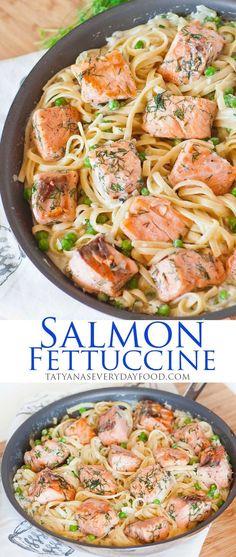 salmon, salmon pasta, salmon fettuccine, salmon dinner, salmon recipe, pasta recipe, fettuccine alfredo, white wine sauce, alfredo sauce, Italian