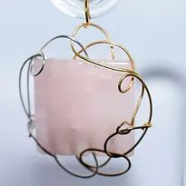 Rose Quartz with Two-Tone WireSculpted Pendant