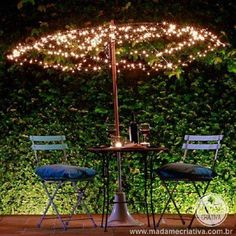 Here is a great idea to convert your broken and useless umbrella to a romantic lighted dinner table umbrella. Things Required to Prepare: Old Umbrella Wire Lights How to Prepare Lighted Table Top Umbrella? – Remove the fabric from an old umbrella Table Umbrella, Outdoor Umbrella, Patio Umbrellas, Patio Umbrella Lights, Design Jardin, Garden Design, House Design, Natural Landscaping, Backyard Landscaping