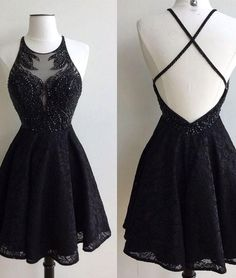 Black lace beaded short prom dress, cute black homecoming dress
