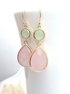 Rose quartz Wedding earrings white Pinky Drop by LaLaCrystal, $32.00