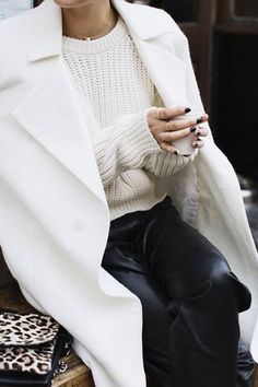 White trench white coat white sweater shades of white, black, pop of leopard