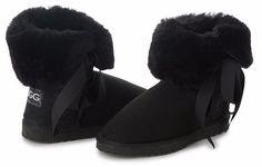 Betty Bow Black Boots, Australian Made Sheepskin #aussie #australianmade #sheepskin #boots #comfy #shoesaholic #shortboots #bow #lace #cute #mood #blackboots #styling #fashion #outfit #fashioninspiration