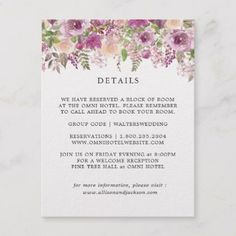 Purple Lilac Violet Floral Wedding Details Cards - elegant wedding gifts diy accessories ideas