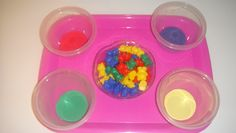 Toddler School Tray: Lakeshore Size and Color Teddy Counters to sort colors