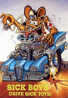 Rat Fink, Cartoon Car Drawing, Cartoon Art, Ed Roth Art, Gi Joe, Cool Car Drawings, Monster Car, Sick Boy, Garage Art