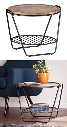$150 When it comes to entertaining, our Mixed Media Table is your MVP. The burnt oak top easily removes to become a stylish serving tray, while the grill grate shelf—crafted from matte black iron—is sure to...  Find the Mixed Media Table, as seen in the Vivid Vintage at the Graduate, Athens Collection at http://dotandbo.com/collections/vivid-vintage-at-the-graduate-athens?utm_source=pinterest&utm_medium=organic&db_sku=117585