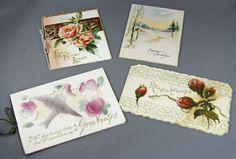 Vintage Victorian Christmas Die Cut Embossed Floral Greeting Cards Used Unused