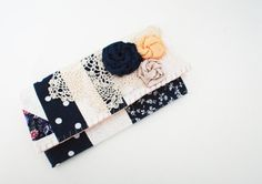 Navy Blue and White Patchwork Trifold Clutch by Singsthesparrow, $50.00