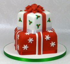 Stacked Christmas Cake by Fancy Cakes by Linda, Stevenage, United Kingdom. You'll find this Cake Appreciation Society Member in our Directory at www.cakeappreciationsociety.com