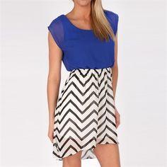 BCX Juniors High-Low Dress with Chevron Skirt