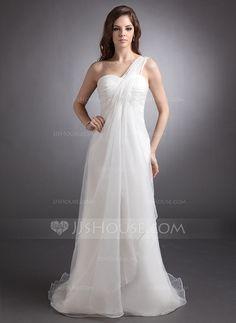 Wedding Dresses - $180.69 - Empire One-Shoulder Court Train Organza Wedding Dress With Ruffle Beadwork (002012637) http://jjshouse.com/Empire-One-Shoulder-Court-Train-Organza-Wedding-Dress-With-Ruffle-Beadwork-002012637-g12637