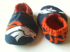 Denver Broncos Cloth Baby Booties by saluna on Etsy Broncos Gear b3a5fd7ff