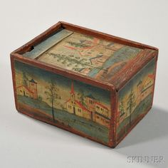 Paint-decorated Wood Candle Box