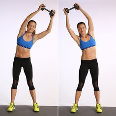 Overhead Circles   Stand with your feet slightly wider than your hips with your knees soft. Hold the dumbbell overhead with both hands. Keeping your abs pulled to the spine, circle the weight around your head starting to the left. Your ribs can move slightly, but your pelvis should stay still. After 30 seconds, reverse direction and circle to the right.
