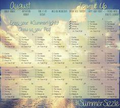 Tone It Up! August calendar