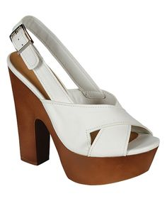 White Rudy Platform Sandal by Breckelle's #shoes