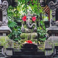 A Balinese Ganesha statue is often included just inside the gate of a family compound to ward of ne'er-do-wells.